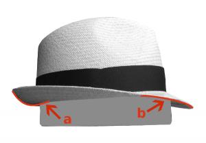 Sombrero de lateral a: trasera hacia arriba b: delantera hacia abajo